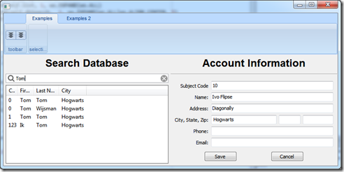 Search box in database